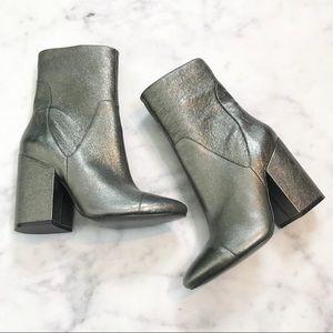 Kendall & Kylie Brooke Silver Block Heel Booties